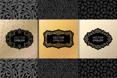 Vector set of design elements, labels and frames. Packaging  luxury products in trendy linear style - simple and bright background made with golden foil on Stock Image