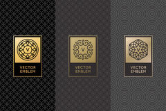 Vector set of design elements, labels and frames. Packaging  luxury products in trendy linear style - simple and bright background made with golden foil on Royalty Free Stock Images