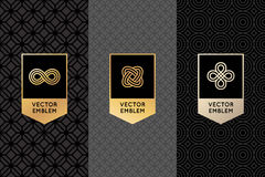 Vector set of design elements, labels and frames. Packaging  luxury products in trendy linear style - simple and bright background made with golden foil on Stock Photo
