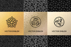 Vector set of design elements, labels and frames. Packaging  luxury products in trendy linear style - simple and bright background made with golden foil on Stock Photography