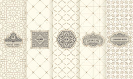 Vector set of design elements labels, icon, logo, frame, luxury packaging for the product. Vertical black cards on a white background. Templates vintage royalty free illustration