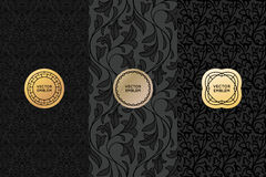 Vector set of design elements, labels and seamless patterns. For packaging for luxury products - simple black backgrounds with golden badges with copy space for Royalty Free Stock Photo