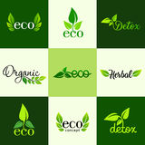 Vector set of design elements of the logo - a healthy diet, detox, organic and natural products Stock Image