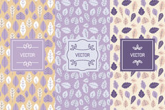 Vector set of design elements for packaging and seamless pattern. S with leaves - backgrounds and templates for organic and natural cosmetics and hand made Royalty Free Stock Image