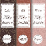 Vector set of design elements and seamless pattern for chocolate and cocoa packaging - labels and background Stock Photography