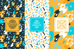 Vector set of design elements and seamless pattern for chocolate Stock Image