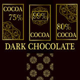 Vector set of design elements and seamless pattern for dark chocolate and cocoa packaging - labels and background Royalty Free Stock Photos