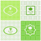 Vector set of design elements, seamless patterns and icons in trendy linear style. Oolong, herbal, black and green tea. Royalty Free Stock Images