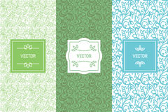Vector set of design elements, seamless patterns and label template Stock Images