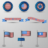 The vector set of design elements with usa symbolics Stock Photos