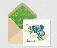 Vector set for design. Envelope and card with cute Koala Royalty Free Stock Photography