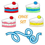 Vector set design food elements sweets cake Royalty Free Stock Photography