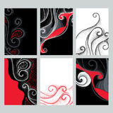 Vector set with design illustrations in dotwork style. Elegance dotted swirls in red, black and white colors for cards. Stock Images