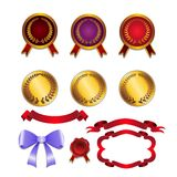 Vector set for design ribbons, medals Stock Photos