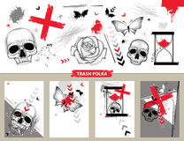 Vector set with design templates and cards in Trash Polka and dotwork style isolated. Dotted skull, cross, abstract arrows. Stock Photography