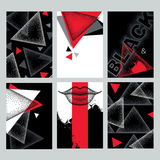 Vector set with design templates in dotwork style. Dotted triangles, blots, lips in red, black and white colors. Royalty Free Stock Photo
