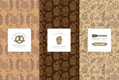 Vector set of design templates and elements for bakery packaging in trendy sketch. Linear style. Doodles elements with design label and logo vector illustration