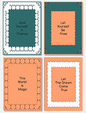 Vector set of design templates. Leaflets and frames A4 size layouts, collection of decorative pages for gift card, cover, book, printing, foto frames, fashion Stock Photo