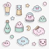 Vector set of design templates patches and emblems or badges, pin for beauty care. Asian cosmetics - cream, powder. Essence. Kawaii faces Stock Photo