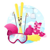 Vector set of detailed flat skiing equipment. Contains ski, boots, helmet, glasses, gloves and hat Stock Photos