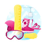 Vector set of detailed flat snowboarding equipment. Contains snowboard, mount, boots, helmet, glasses and gloves Royalty Free Stock Image