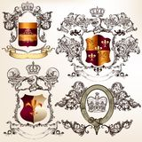 Vector set of detailed heraldic design with coat of arms and shi Stock Photo