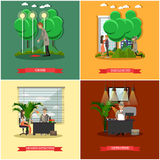 Vector set of detective posters in flat style Royalty Free Stock Photo