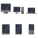 Vector Set of Device Icons. Personal Computer, Monitor, Laptop, Tablet PC, Smartphone and Cellphone Royalty Free Stock Photography