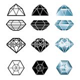 Vector set of diamonds Stock Photo