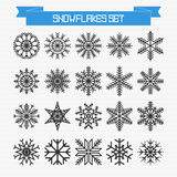Vector set of different abstract snowflakes Stock Image
