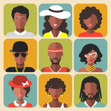 Vector set of different african american women and man app icons in trendy flat style. Stock Images