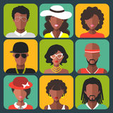 Vector set of different african american women and man app icons in trendy flat style. Vector set of different african american women and man app icons in Royalty Free Stock Image