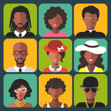 Vector set of different african american women and man app icons in trendy flat style. Stock Image