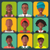 Vector set of different african people app icons in flat style.Female and male people of color group. Zambian men faces. Vector set of different african people Stock Images