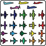 Vector set of different airplane icons. Stock Photos