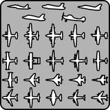 Vector set of different airplane icons. Set of different airplane icons. Vector image Royalty Free Stock Photo