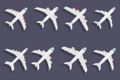 Vector set of different airplane symbols. Stock Images