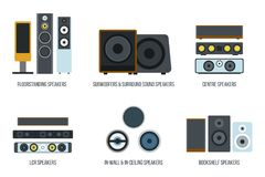 Vector set of Different audio speakers. Flat style. Royalty Free Stock Photos