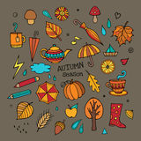 Vector set of different autumn elements Stock Photo