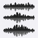 Vector set of different black horizontal cityscape with reflecti. On. Vector city silhouettes, element for design banners,web design, architectural backgrounds vector illustration
