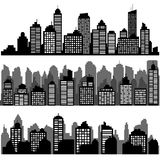 Vector set of different black horizontal night cityscape. Vector city silhouettes, element for design banners,web design, architectural backgrounds stock illustration