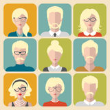 Vector set of different blond people app icons in flat style. People heads and faces images collection. Stock Photography