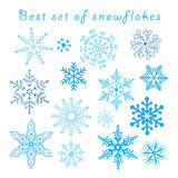 Vector set of different blue snowflakes Stock Image