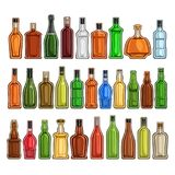 Vector set of different Bottles. 30 full glass containers with colorful premium alcohol drinks various shape, collection cartoon icons of hard liquor bottles vector illustration