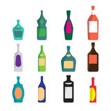Vector set of different bottles for wine, cognac, liqueur Stock Image