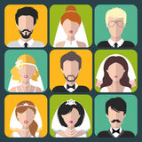 Vector set of the different brides and grooms app icons in flat style. Royalty Free Stock Images