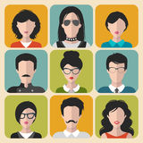 Vector set of different brunet people app icons in flat style. People heads and faces images collection. Royalty Free Stock Image