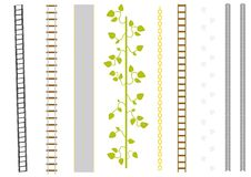 Vector set of different brushes. Film, railway, road, liana, chain, ladder, catstep, track Royalty Free Stock Images