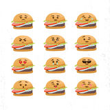 Vector set of different Burger Faces royalty free illustration