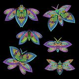 Vector set of different butterflies. Vivid design of small dots for interior decoration, clothing. Colorful tattoo templates Royalty Free Stock Photo
